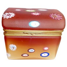 Opaline glass box with millifoire and ombre carmel color
