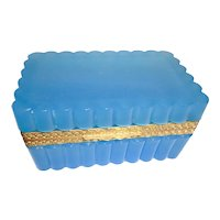 French Opaline glass box turquoise blue, scalloped design