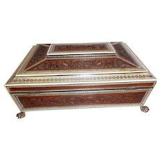 Antique Anglo Indian Sideli Sandalwood sewing/work box