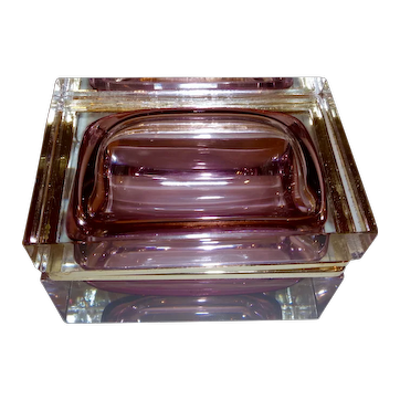 Murano glass Sommerso clear with amethyst interior