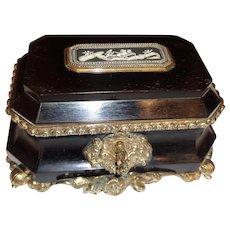 Antique  French Ebony , bronze mounts Box . Hardstone cameo plaque,signed