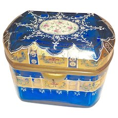 Antique Moser Bohemian glass box, enameled and 14K gold embellished box
