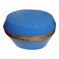 Opaline glass box, Turquoise  color