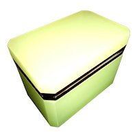 Opaline french glass box  with gilded mounts.  Pale lime color