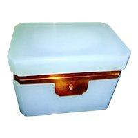 PALE Blue French opaline glass box , gilded mounts and keyhole plate