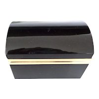 Opaline glass box Black  w/ domed top