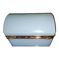 Palest blue French opaline glass box  Large size