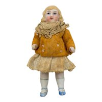 Antique German 3-3/8 inch articulated Bisque Doll