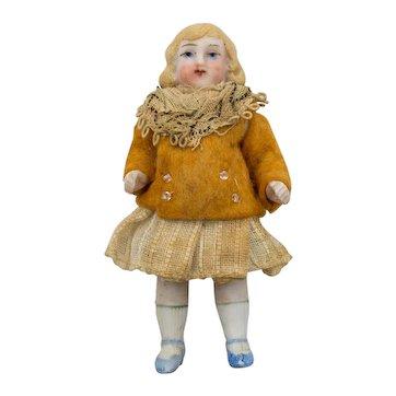 Antique German 3-3/8 inch articulated Bisque Doll