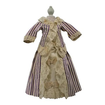 Antique French Fashion Doll Dress, Circa 1890's, for an Antique French or German Doll