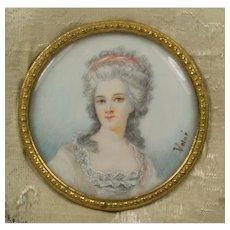 Antique French Miniature Portrait of Madame Elizabeth, sister of Louis XVI