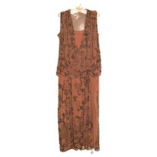 1920's Flapper Dress Beaded Rose Pink