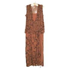 1920's Flapper Dress Beaded Rose Pink