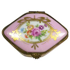 Limoges Pink and Gold Trinket Box