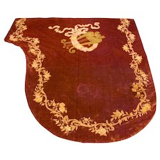 Antique French Velvet Baby Grand Piano Cover Hand Embroidered