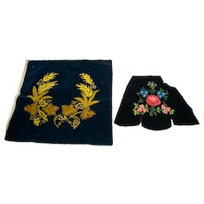 Two Pieces of Hand Embroidered Chenille on Velvet