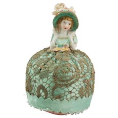 Tiny Sea Green and Gold Vintage Porcelain Half Doll