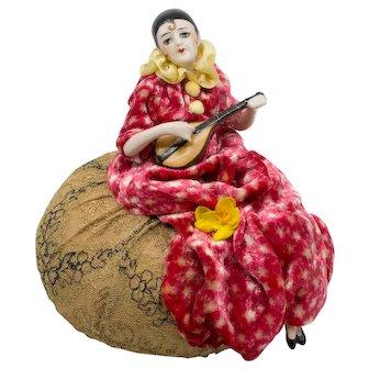 German Pierrot Half Doll with Mandolin