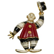 Kenneth Jay Lane (KJL) Clown Tipping Hat Brooch Pin