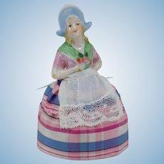 Tiny German Half Doll Pincushion Dutch Outfit