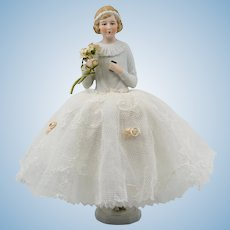 Candy Box Half Doll Bisque White Lace Skirt Standing
