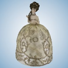 Gorgeous Half Doll Bisque Arms Away Silk Metallic Lace Gown