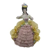 German Half Doll Golden Yellow Gown Pink Ruffles Arms Away
