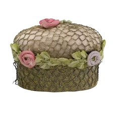 Vintage Silk Ribbon Flowers Metallic Lace Covered Box for Doll Jewelry or Accessories for Your Antique French or German Doll
