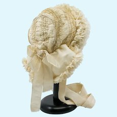 Antique French Silk and Lace Bonnet for an Antique French or German Bebe Doll