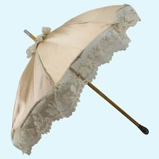 Antique French Jumeau Parasol 13-1/2 inches long (34.5 cm) with Dog Head Brass Hand Grip