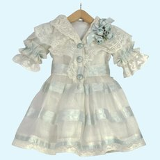 "Blue and White Antique Silk and Lace Dress for 19"" Antique French or German Doll"
