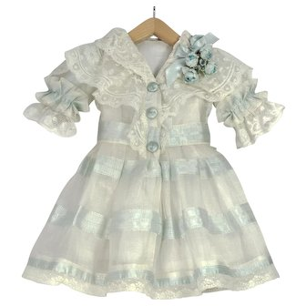 """Blue and White Antique Silk and Lace Dress for 19"""" Antique French or German Doll"""