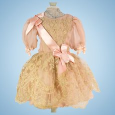 Pink Peach Antique Silk and Lace Dress for an Antique French or German Doll