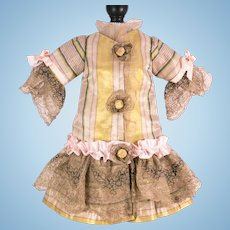 Creamy Beige, Pink and Yellow Striped Silk and Lace Dress for Antique French or German Doll