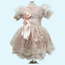 "Warm Pink Antique Silk and Lace Dress for 19"" Antique French or German Doll"