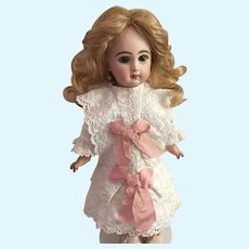 "White Cotton Hand Made Lace Dress with Pink Silk Bows for 19"" Antique French or German Doll"