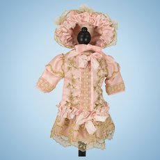 Pink Antique Silk and Gold Metallic Embroidered Lace Dress and Bonnet for Antique French or German Doll
