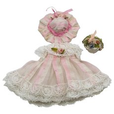 Pink Striped Antique Silk and Lace Dress, Hat and Flower Basket for an Antique French or German Mignonette Doll