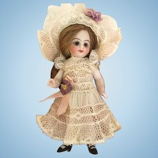 Pale Beige Antique Lace Dress and Hat for a 4 inch Antique French or German Mignonette Doll