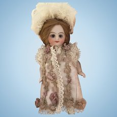 Pale Lavender Antique Silk and Lace Dress for a 4 inch Antique French or German Mignonette Doll