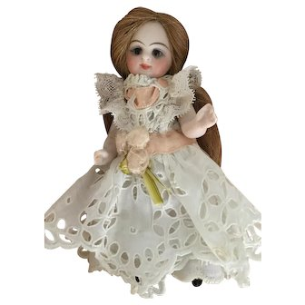 White Eyelet Lace Dress for 4 Inch Antique French or German Mignonette Doll