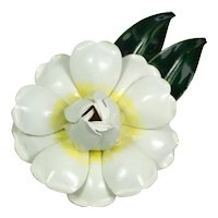 Sandor White Enamel Flower Brooch Pin