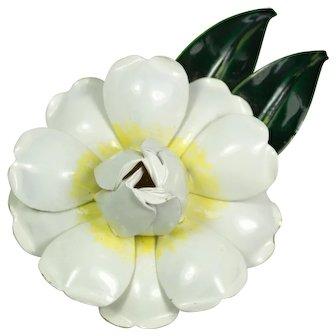 Sandor White Enamel Flower Brooch Pin