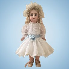 """White Antique Lace and Cotton Couture Dress with Slip and Headband for a 19"""" Antique French or German Doll"""