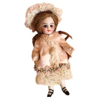 """Pale Pink Antique Silk Couture Dress and Hat for 4"""" Antique French or German Mignonette Doll"""