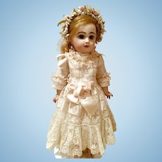 "Antique Ivory Silk and Lace Dress with Headband for a 19"" Antique French or German Doll"