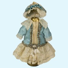 Blue and Beige Antique Silk and Lace Dress and Hat for Antique French or German Doll