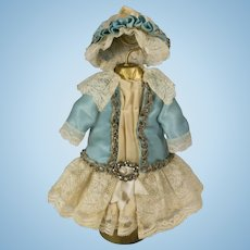 Blue and Beige Antique Silk and Lace Couture Dress and Hat for Antique French or German Doll
