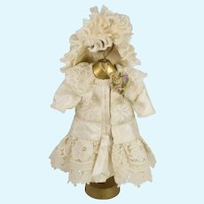 Beige Antique Silk and Lace Dress and Hat for Antique French or German Doll