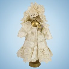 Beige Antique Silk and Lace Couture Dress and Hat for Antique French or German Doll